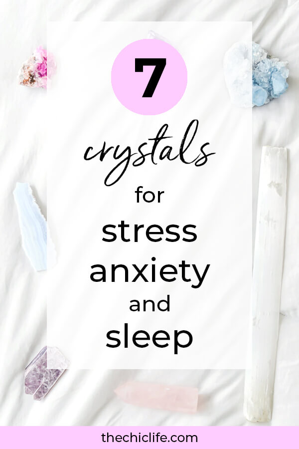 Use these 7 crystals to help with stress, anxiety, and getting quality sleep. The sleep crystal has me sleeping like a baby! #inspirationalquote #personalgrowth #personaldevelopment #selfwork #selfimprovement #goodvibes #highvibes #selfcare #positivemindset #positivethinking #raiseyourvibe #anxiety