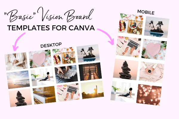 Examples of finished digital vision boards made on Canva using wallpaper templates - desktop and mobile