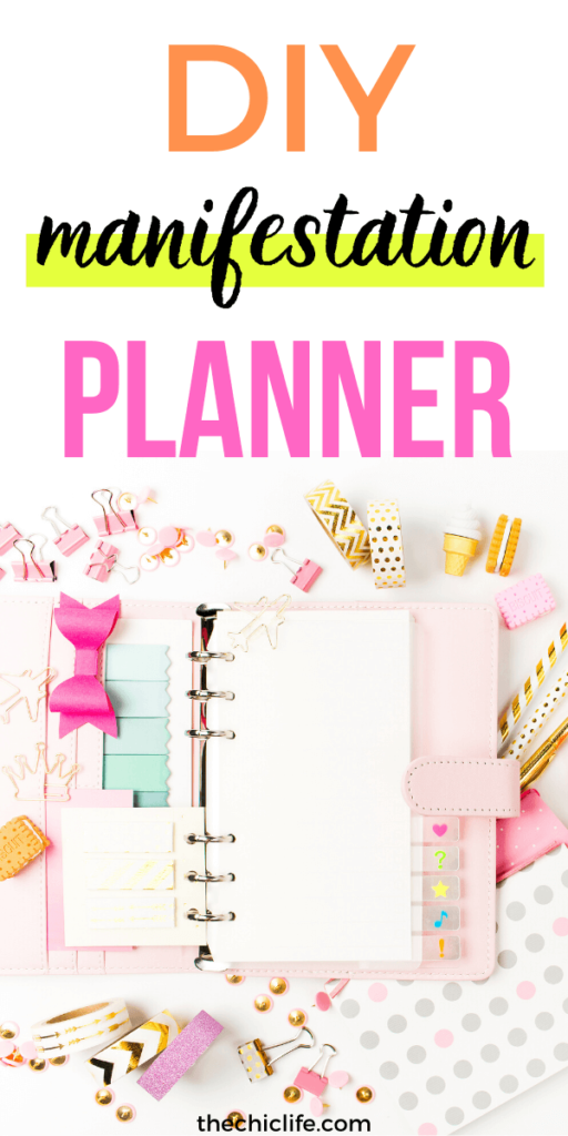 Photo of a planner with planner supplies. Plus text about making a DIY Manifestation Planner.