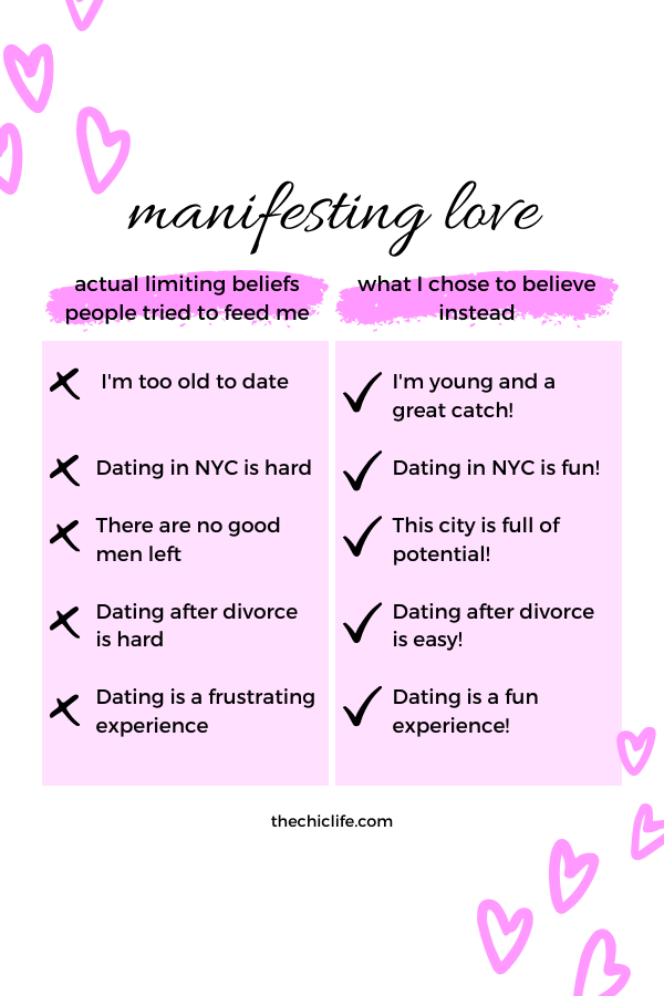 Examples of limiting beliefs people told me and how I re-wrote them. Enjoy these tips on how to manifest LOVE to attract your ideal relationship. #lawofattraction #loa #manifestation #manifest #personalgrowth #personaldevelopment #goodvibes #highvibes #spirituality #theuniverse #mindset #LawOfVibration #successhabits