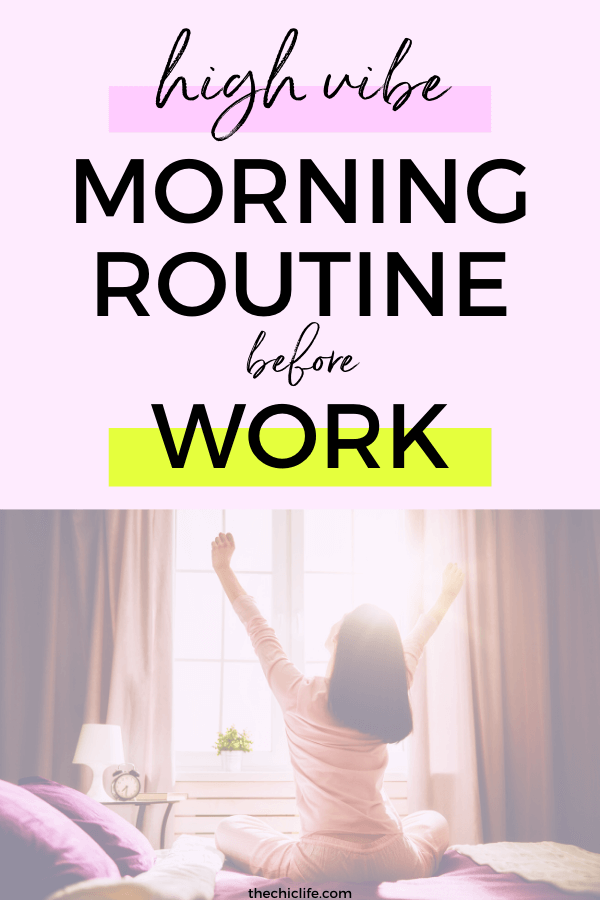 So you want to start the day with positive energy but you don't have two hours? I've got you! Here's a simple 3-step high vibe morning routine that will raise your vibes first thing so you feel good, enjoy positive energy for the day, and even manifest more easily! #personaldevelopment #goodvibes #highvibes #mindset #successhabits #positiveenergy #positivity #selfgrowth #manifestation
