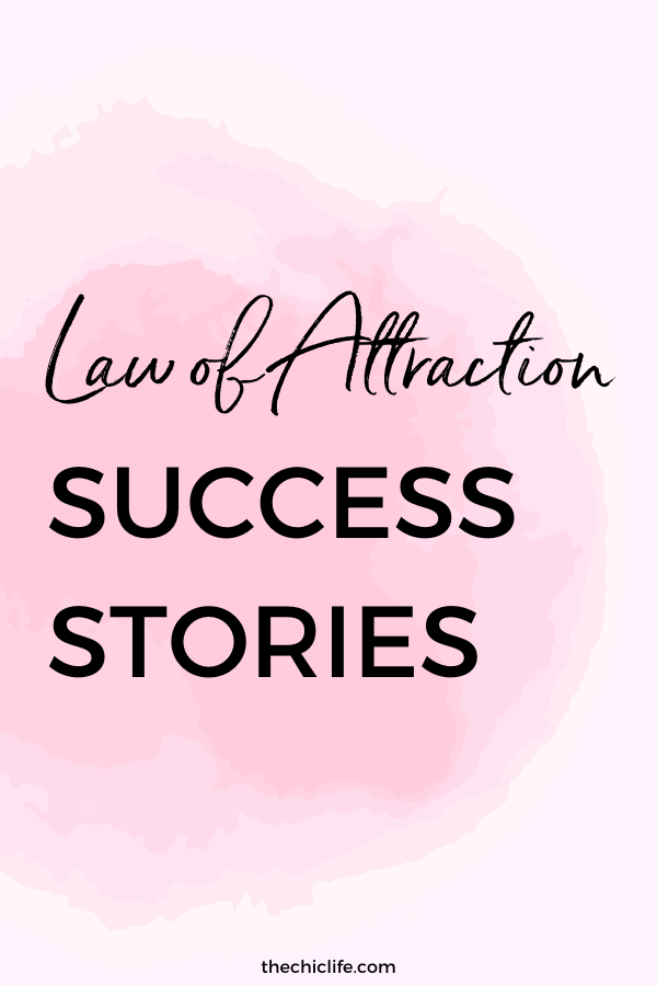Law of Attraction Success Stories Graphic with pink watercolor background