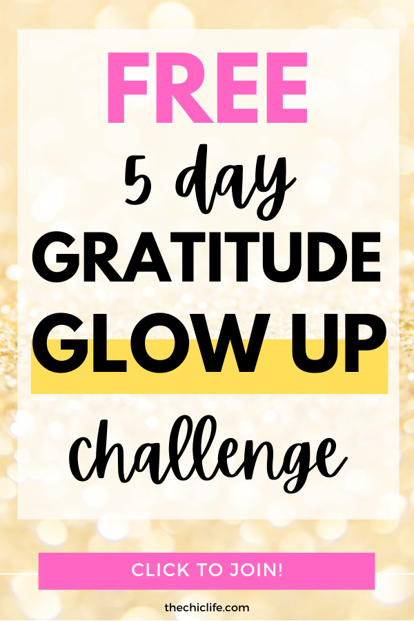 Text reads: Gratitude Glow Up Challenge 2020 - Free 5 Day Challenge