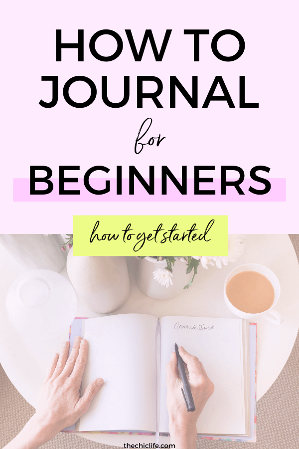 Text says How to Journal for Beginners - How to Get Started. Below - a photo of an open notebook with blank pages