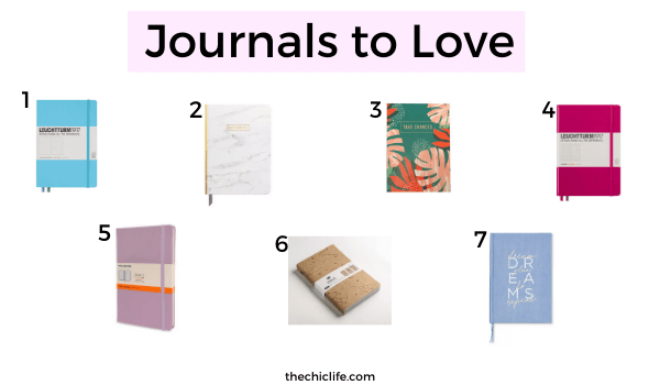 A collage of fun journals that would be great options for journal beginners