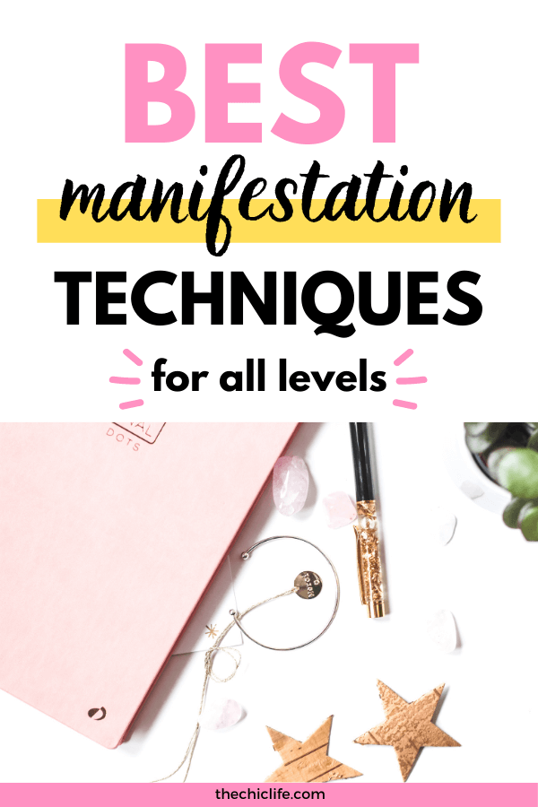 Text reads: Best Manifestation Techniques for All Levels. Below is a photo of a journal, pen, crystal, and plant.