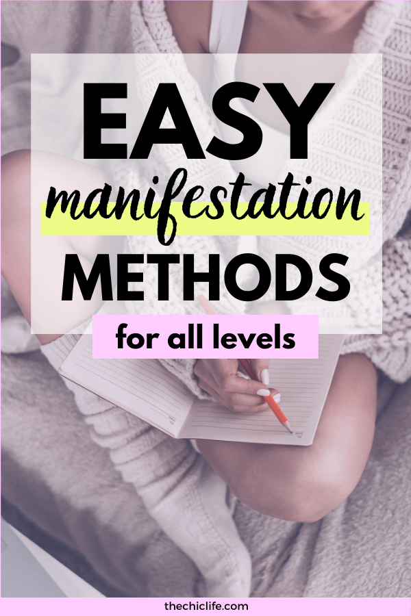 Text reads: Easy Manifestation Methods for All Levels. Behind is a photo of a woman writing in a journal.