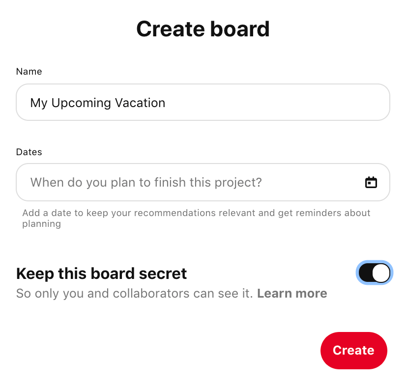 How to make a vision board on Pinterest - creating the board