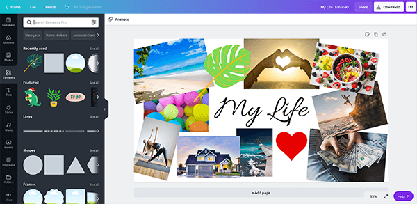 How to Make a Digital Vision Board Desktop Wallpaper on Canva - by adding elements