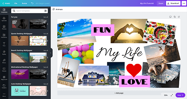 How to Make a Digital Vision Board Desktop Wallpaper on Canva - by adding text/words/quotes