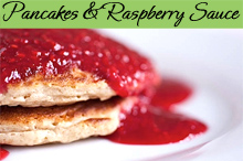 Fluffy multigrain pancakes with easy and fresh raspberry sauce